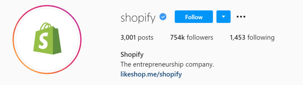 shopify instagram account