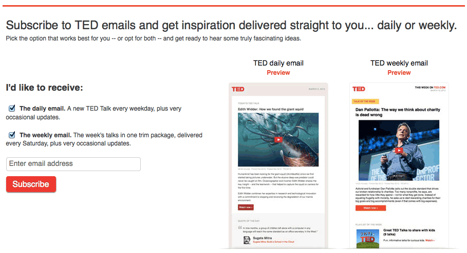 ted email frequency preference