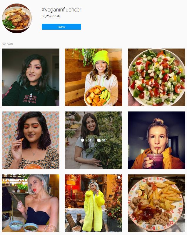 veganinflencer instagram hashtag