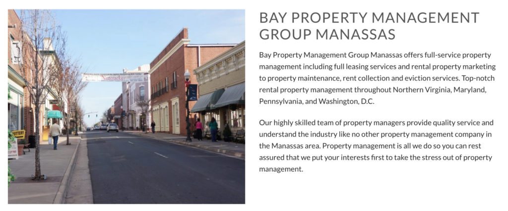 Bay Property Management Group target the right people with location specific landing pages
