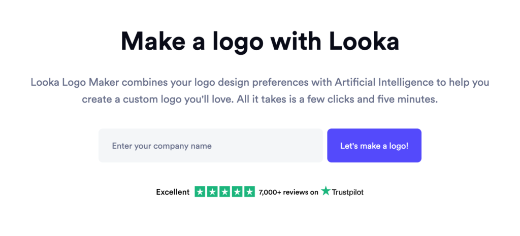 Looka landing page gets straight to the point