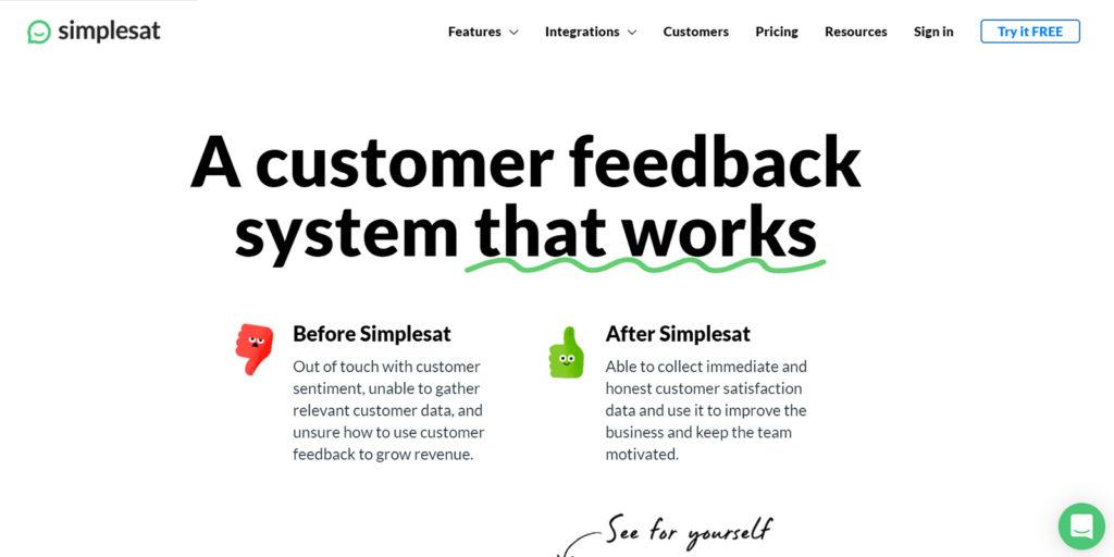 Simplesat survey tool net promoter score nps