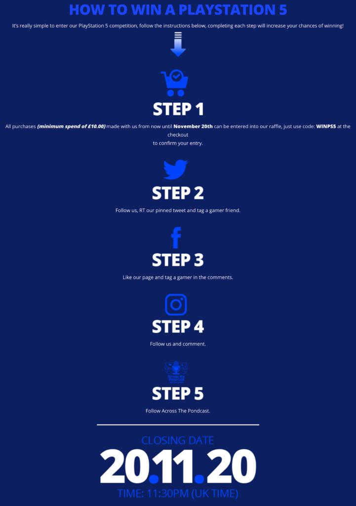 Xtremeskins PS5 Giveaway steps