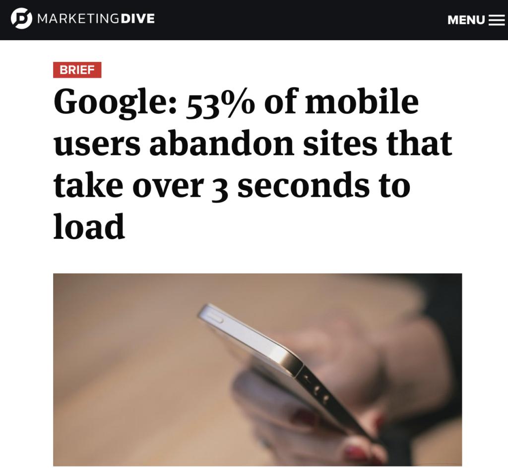 marketing dive landing page load speed