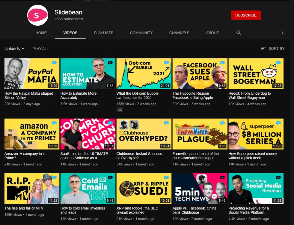 Slidebean YouTube channel