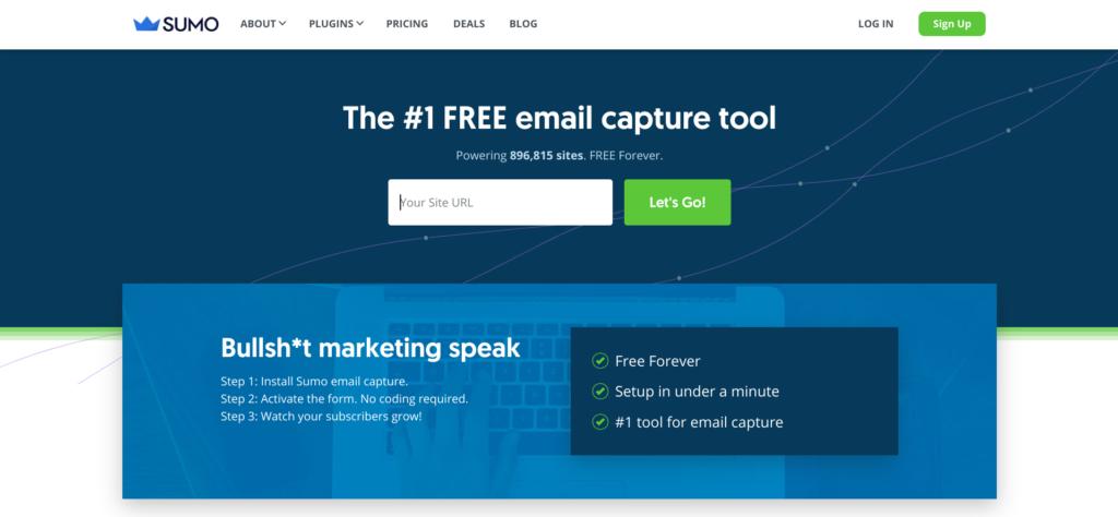 Sumo email capture tool