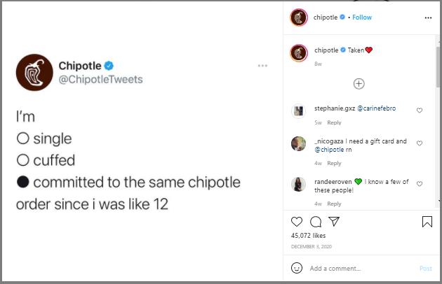 chipotle Instagram profile meme example