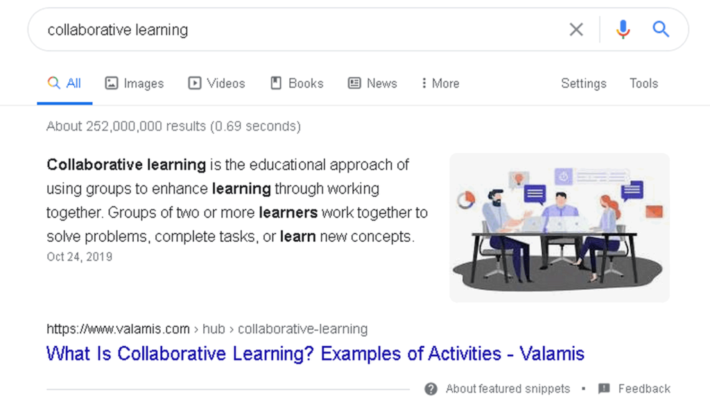 collaborative learning search results