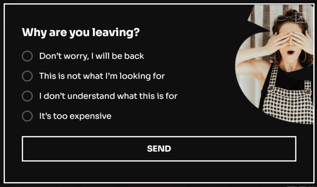 exit intent popup customer feedback survey
