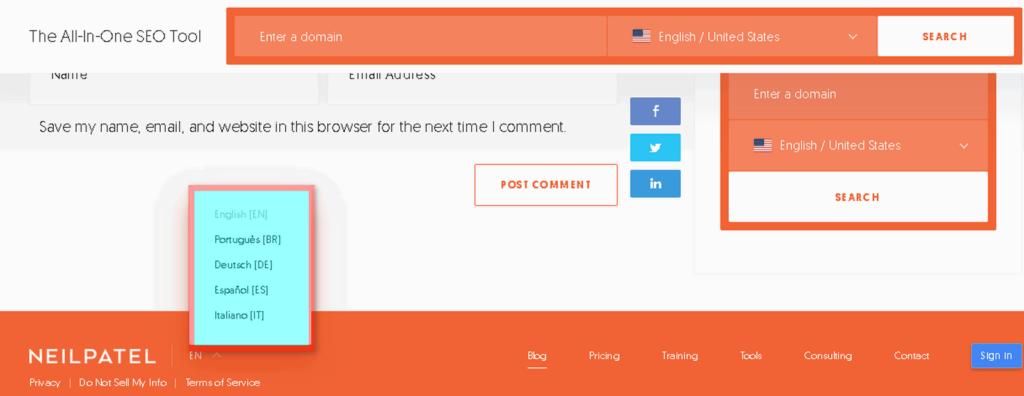 neilpatel website languages