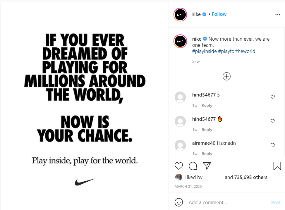 nike instagram hashtags example