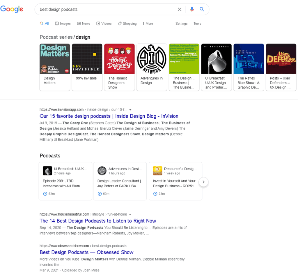 search results best design podcasts