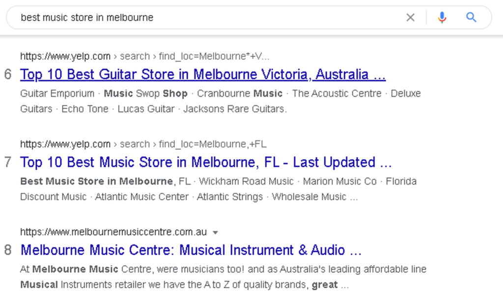 search results best music store in melbourne