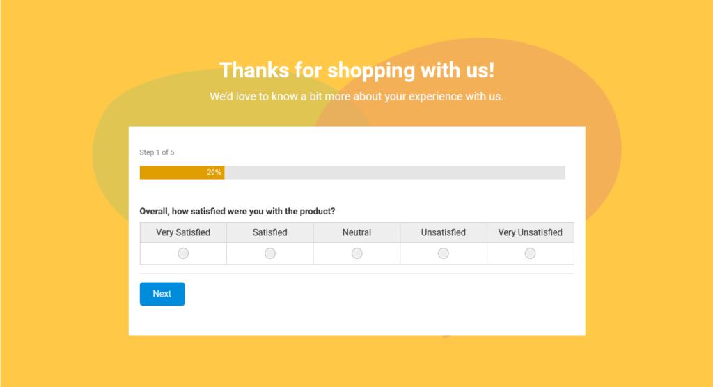 Woorise Customer Feedback Template survey