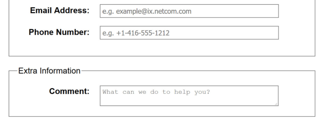 field placeholder form example