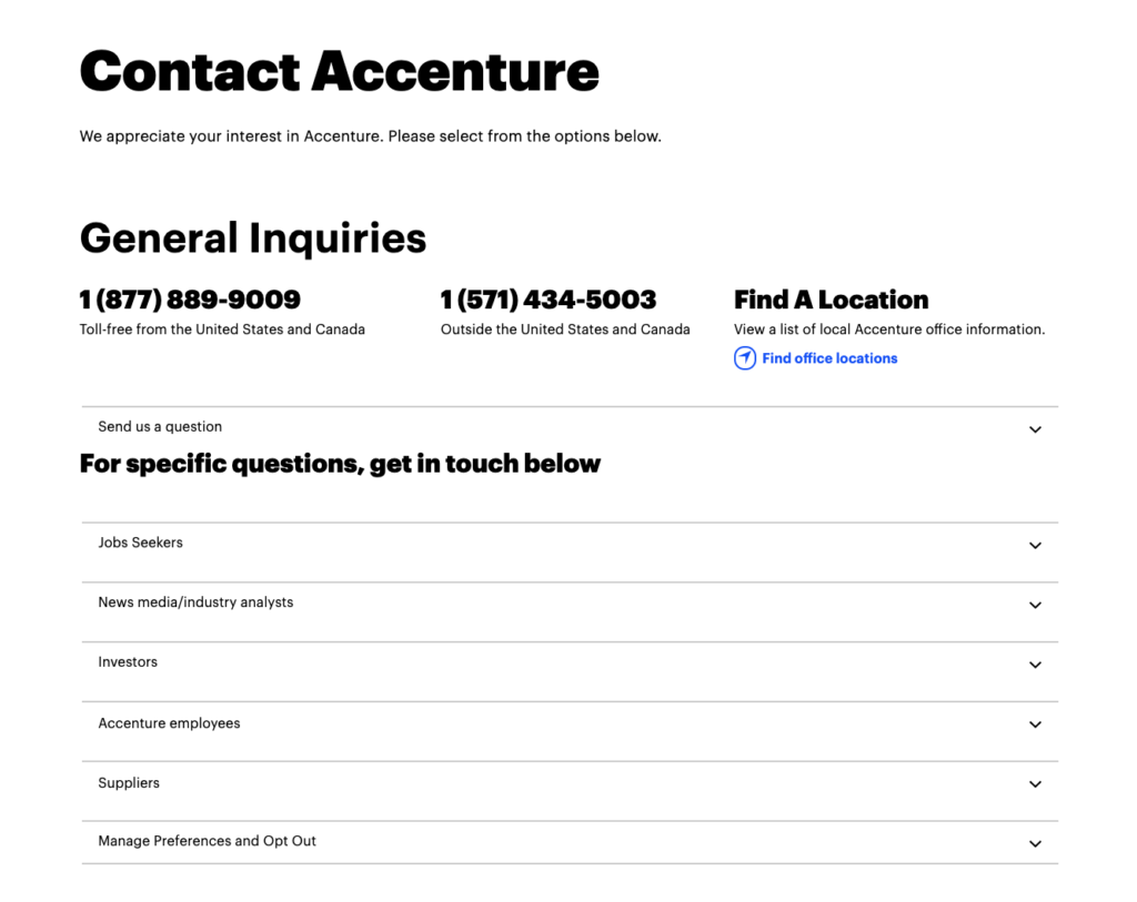 Accenture contact form