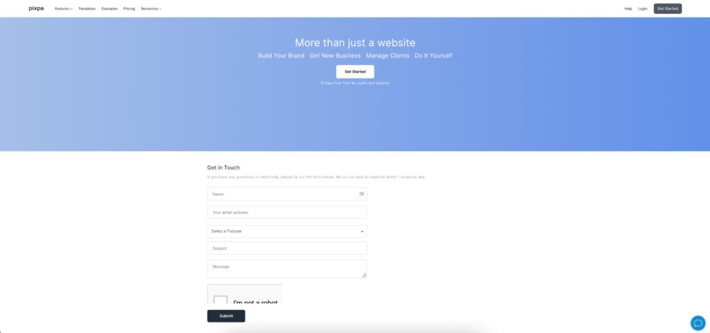 Pixpa contact form