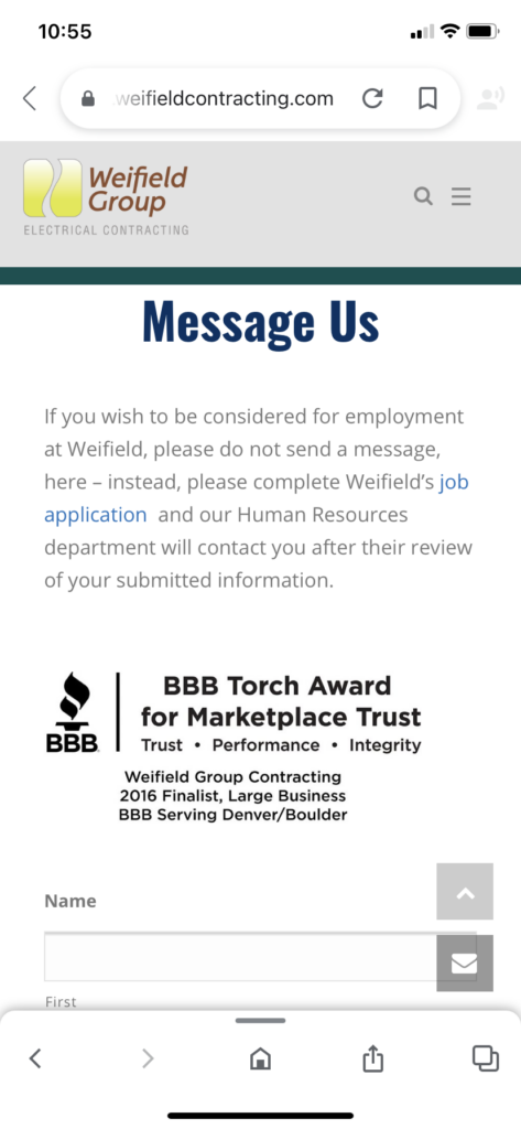 Weifield Group Contracting mobile contact form