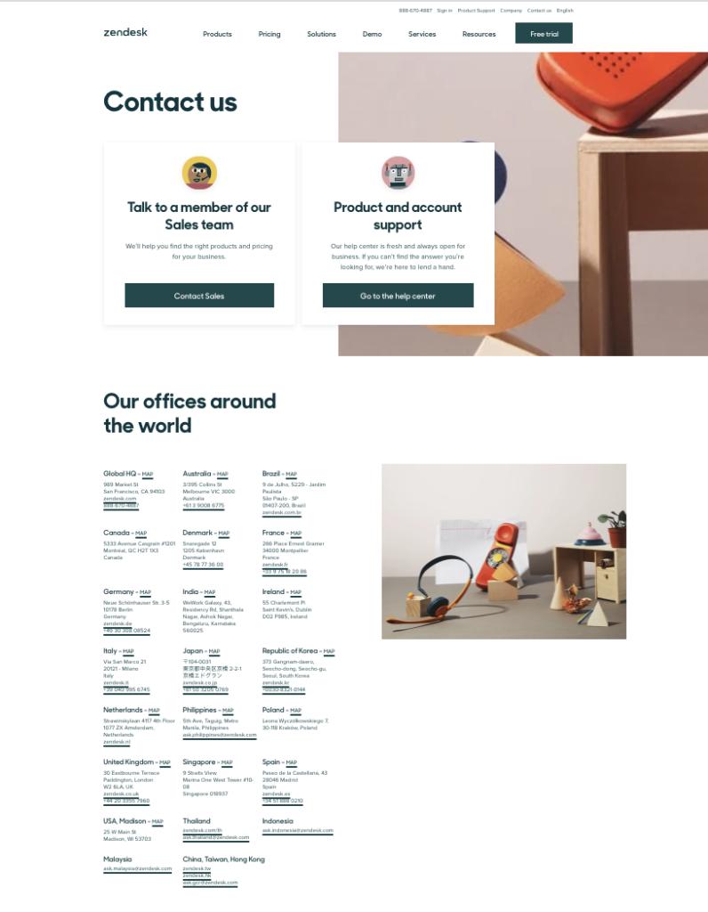 Zendesk contact us landing page