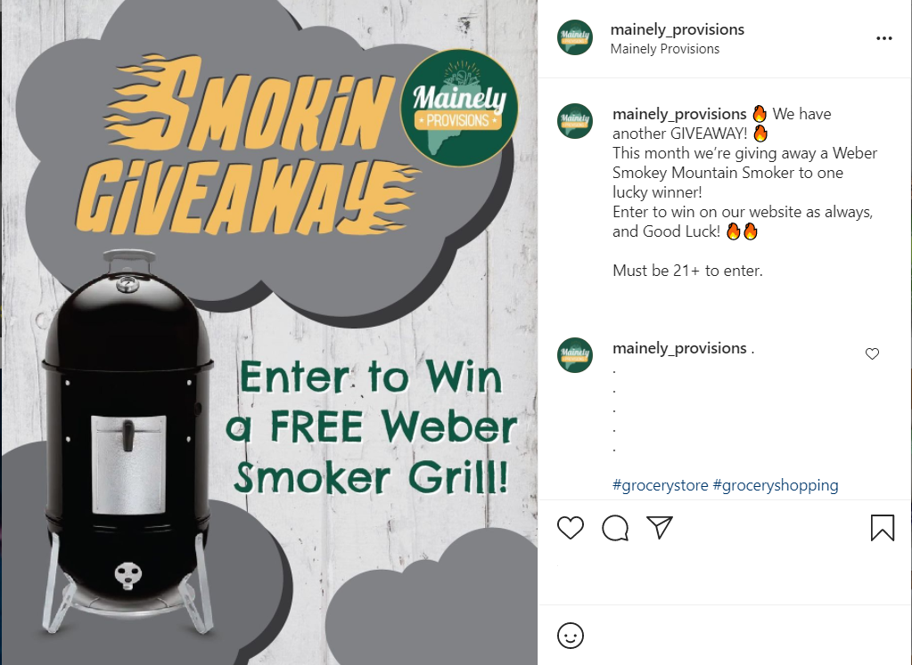 Content for Contest Promotion instagram example