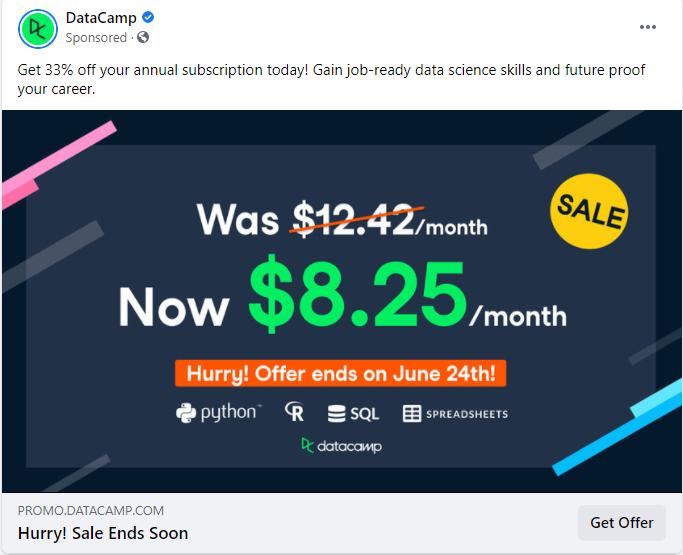 DataCamp Facebook ad example
