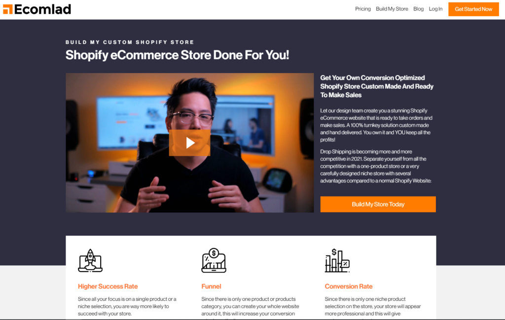 landing page example with video