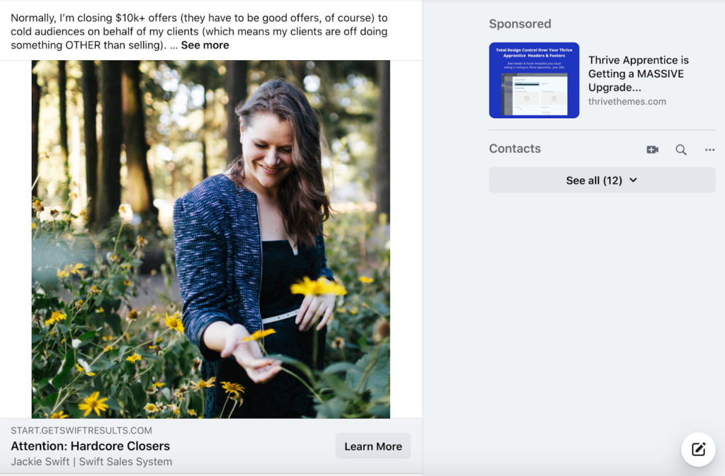 social media landing page example