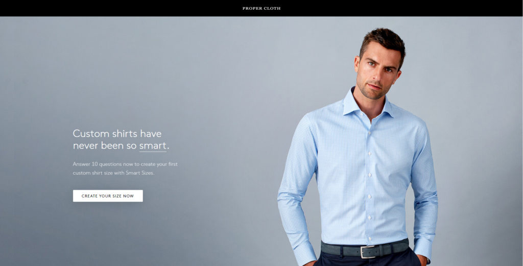social media landing page example from clothing company