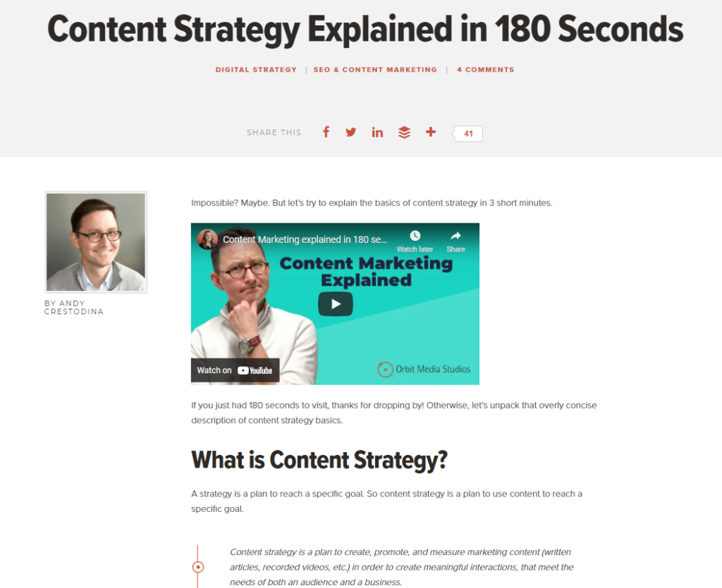 video content strategy example