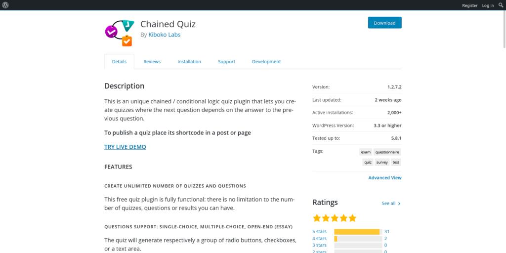 Chained Quiz WordPress plugin