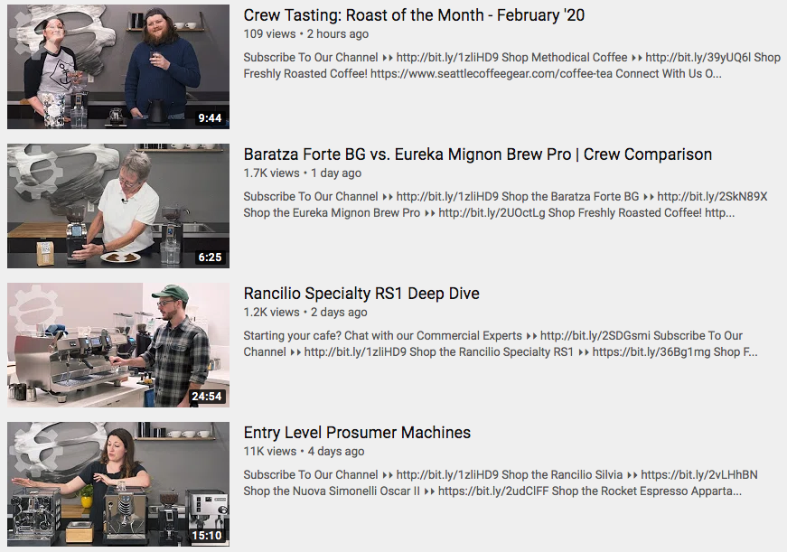 Seattle Coffee Gear YouTube tutorials