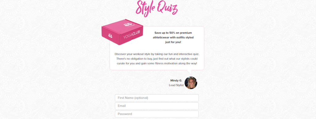 YogaClub quiz example