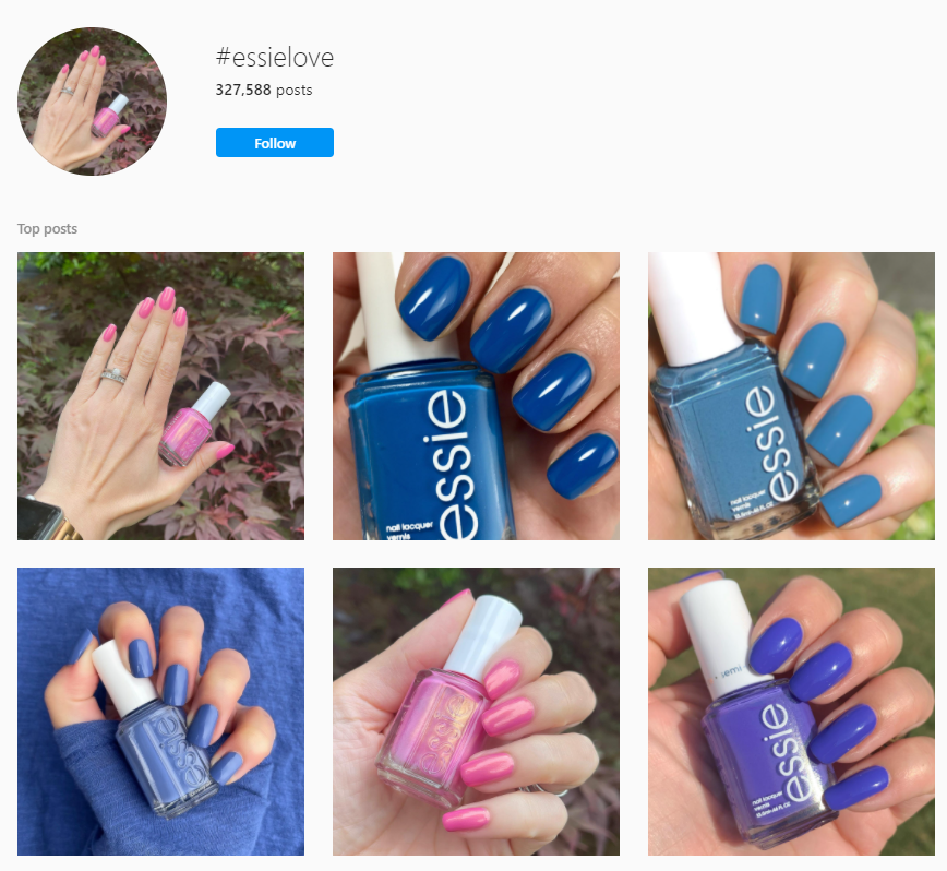 essielove hashtag to influence people to post images of their nail polish in action