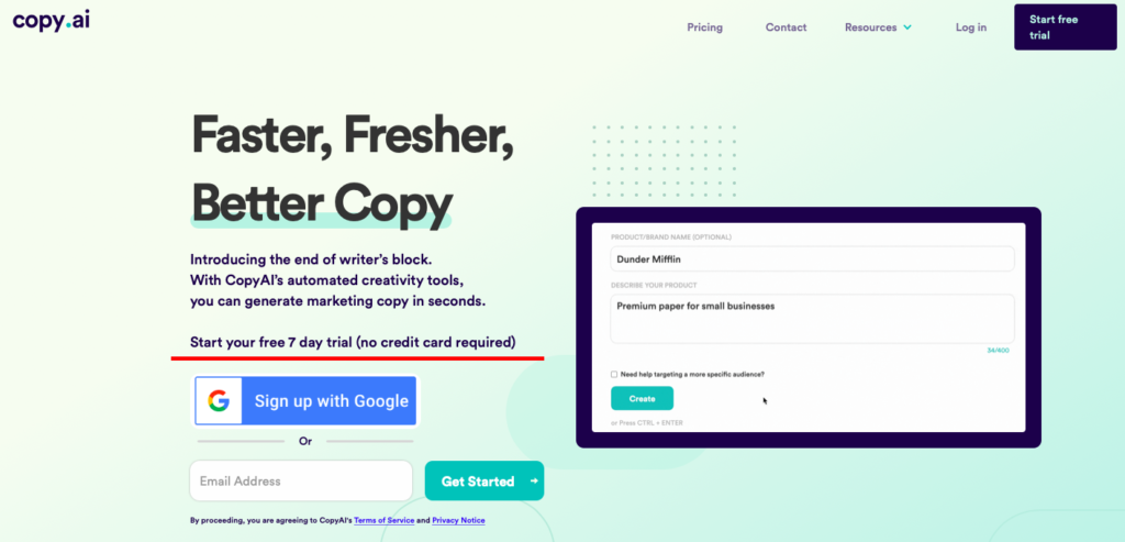 free trial landing page example